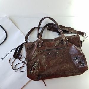Balenciaga brown leather purse